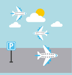 Airport plane flying sky sun cloud parking sign vector