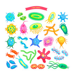 bacteria collection of icons vector image