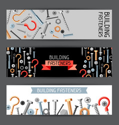 banners with bolts nuts nails vector image