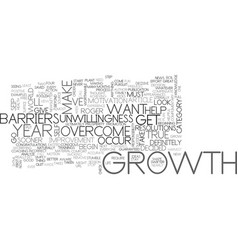 Barriers to overcome for growth text word cloud vector