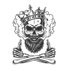 bearded and mustached skull wearing crown vector image