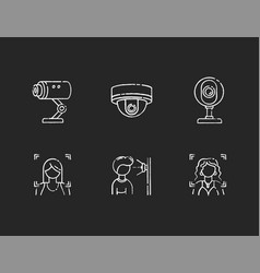 Biometric identification chalk white icons set vector