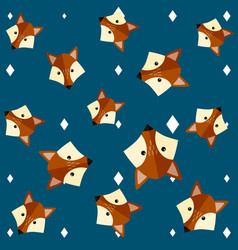 blue seamless pattern with cute fox vector image
