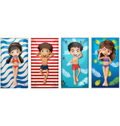boys and girls on beach towels vector image