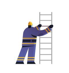brave fireman climbing ladder firefighter wearing vector image