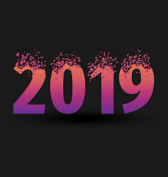 Breaking inscription 2019 and happy new year vector