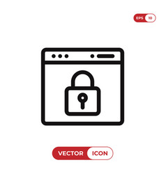 browser with lock icon vector image