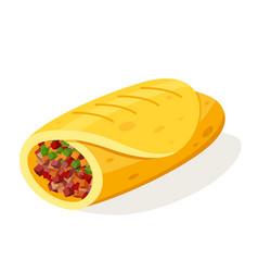 burito mexican food vector image vector image