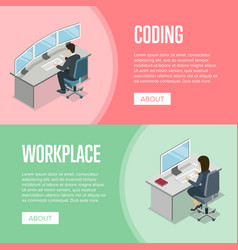 Business people working in office at computer vector
