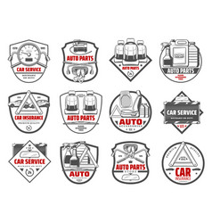 Car store auto parts and vehicle accessory icons vector