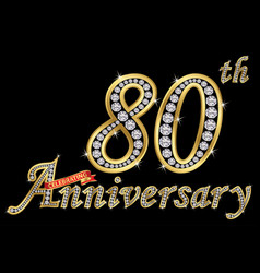 Celebrating 80th anniversary golden sign with vector