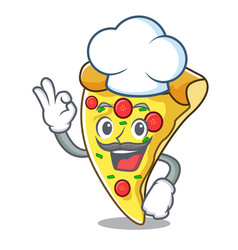 chef pizza slice character cartoon vector image