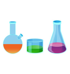chemical flasks of different shape isolated vector image
