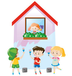Children painting the house pink vector