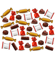 Chocolates and candy realistic pattern vector