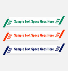 Clean flat lower third with banners set vector