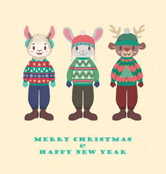Collection of cute animals in ugly christmas vector