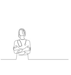 Continuous one line woman doctor with vector