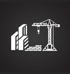 Crane on construction yard on black background vector