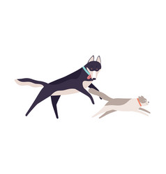 cute cat running away from funny dog flat vector image