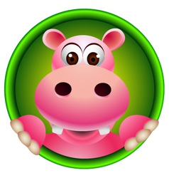 Cute hippopotamus head cartoon vector