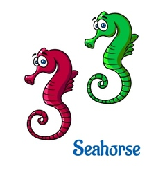Cute little cartoon seahorses vector image