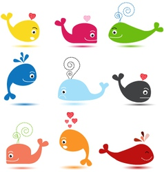 Cute whale cartoon collection vector