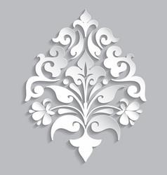 Damask volumetric ornamental element elegant vector