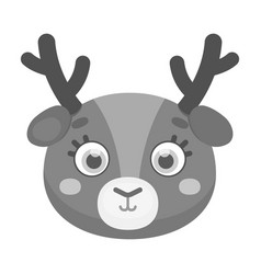 Deer muzzle icon in monochrome style isolated on vector