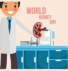 Doctor in consultation room world kidney day vector
