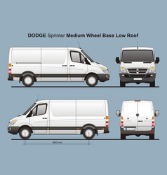 Dodge sprinter mwb low roof cargo van vector