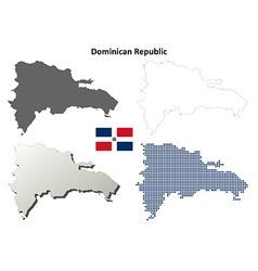 Dominican Republic outline map set vector image