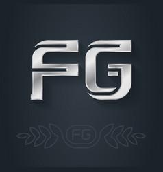 fg - metallic 3d icon or logotype template design vector image