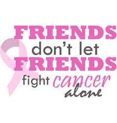 Fight cancer alone on white background vector