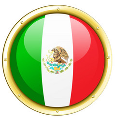 flag of mexico on round frame vector image