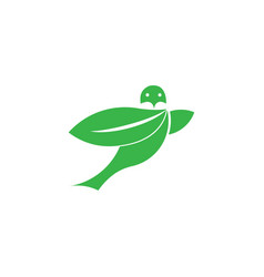 flying bird leaf eco green logo template isolated vector image