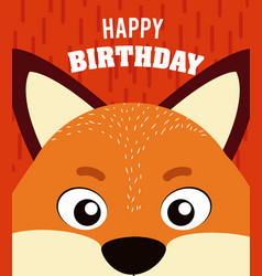 fox happy birthday card vector image