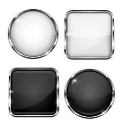 glass buttons with chrome frame black and white vector image