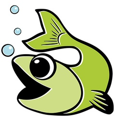 Green fish water bubbles Isolated vector image