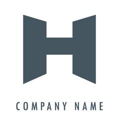 H grey logo vector image