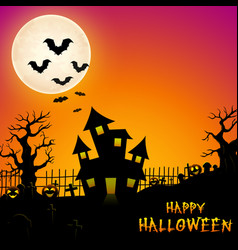 Halloween haunted castle with bats and trees in gr vector