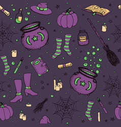 halloween pattern with pumpkin witch hat broom vector image