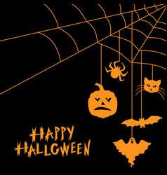halloween symbols and web greeting card vector image