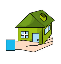 hand with house architecture design icon vector image