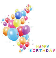 happy birthday card with colorful balloon vector image