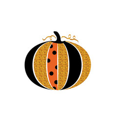 Happy halloween greeting card glitter pumpkin and vector