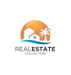 house and beach logo design vector image