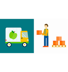 Import export fruits truck vector