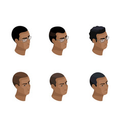 Isometry icon head hairstyle an african-american vector