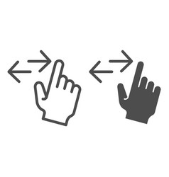 Left and right swipe line and glyph icon drag vector